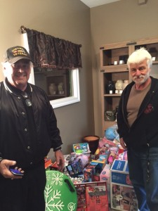 Strongsville, OH - Members of Strongsville VFW Post #3345 filling up the room with toys.