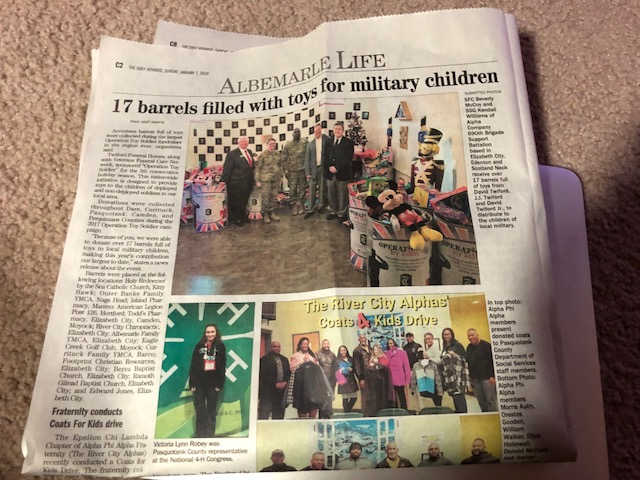 Twiford Funeral Home newspaper article for Operation Toy Soldier 2017