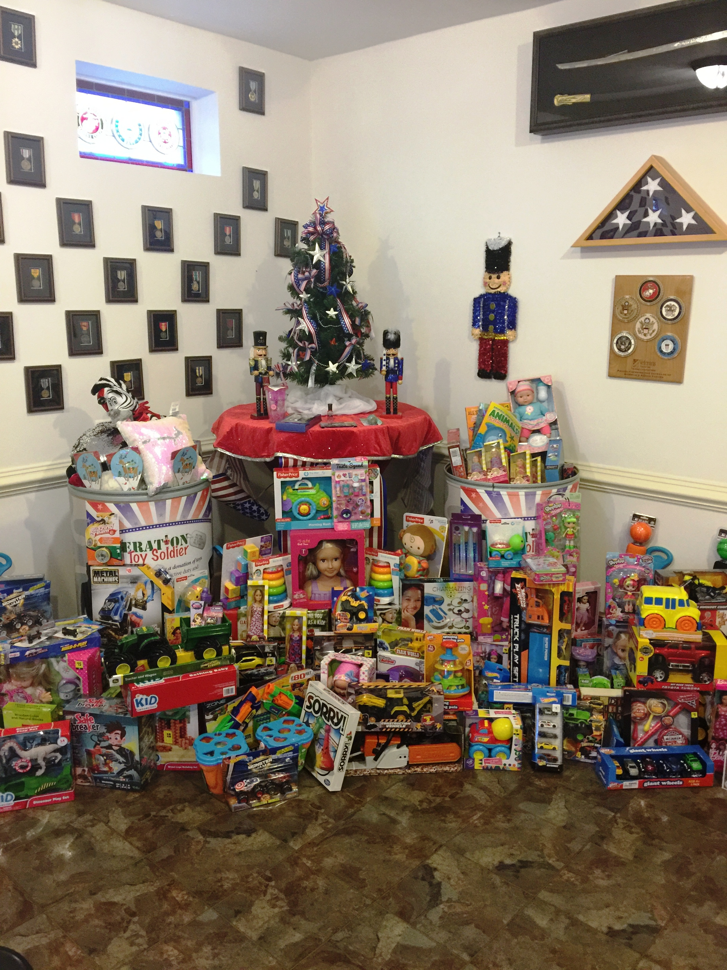 Twiford Funeral Homes donated toys overflowing the barrel